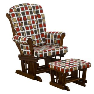 Statham Square Print Glider with Ottoman Harriet Bee