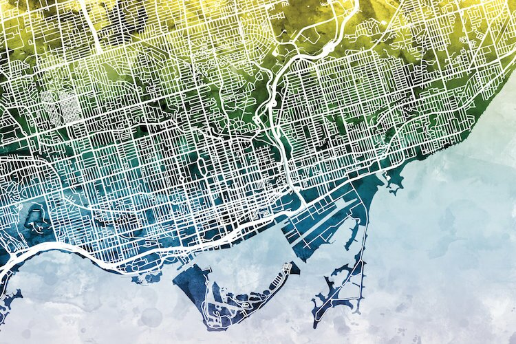 East urban home color gradient urban street map series toronto color gradient urban street map series toronto canada graphic art on wrapped canvas gumiabroncs Image collections