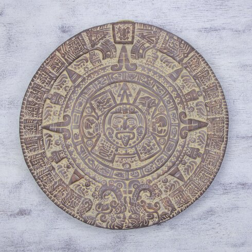 Aztec calendar unique mexico archaeological ceramic plaque wall décor