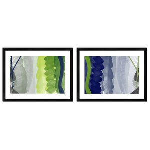Navy and Green Abstract Brushes 2 Piece Framed Graphicl Art Set by Mercury Row