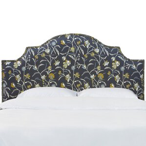 Rowland Nail Button Notched Whisper Floral Upholstered Panel Headboard by Alcott Hill