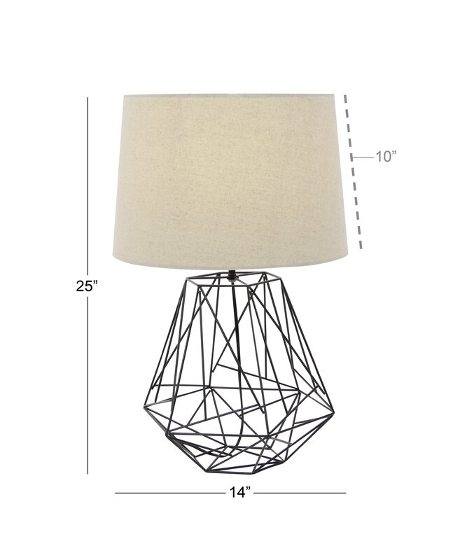Metal wire 25 table lamp reviews allmodern metal wire 25 table lamp greentooth Images