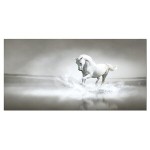 'White Horse Running in Water' Photographic Print on Wrapped Canvas by Design Art