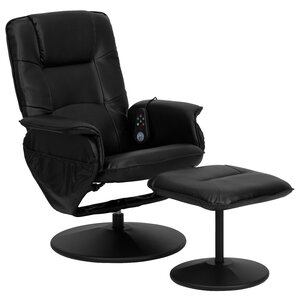 Latitude Run Leather Heated Reclining Massage Chair & Ottoman Image