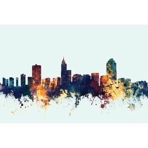 Skyline Series: Raleigh, North Carolina, USA Graphic Art on Wrapped Canvas in Blue by East Urban Home
