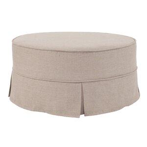 Round Cotton Ottoman Slipcover