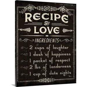 Life Recipes I Textual Art on Wrapped Canvas by Great Big Canvas