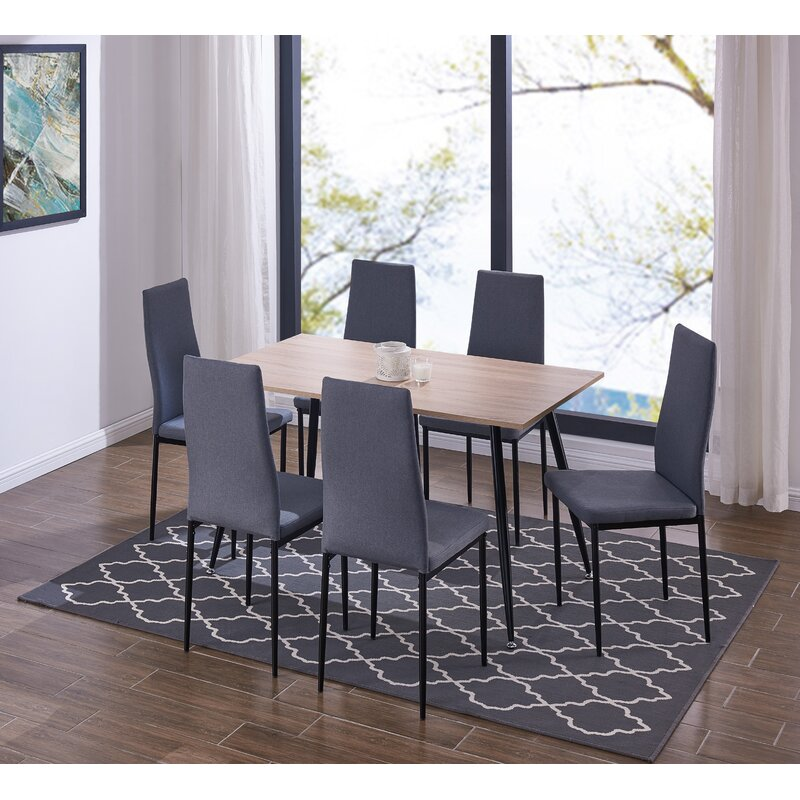 Streeter Scandinavian Style Exotic 7 Pieces Dining Set