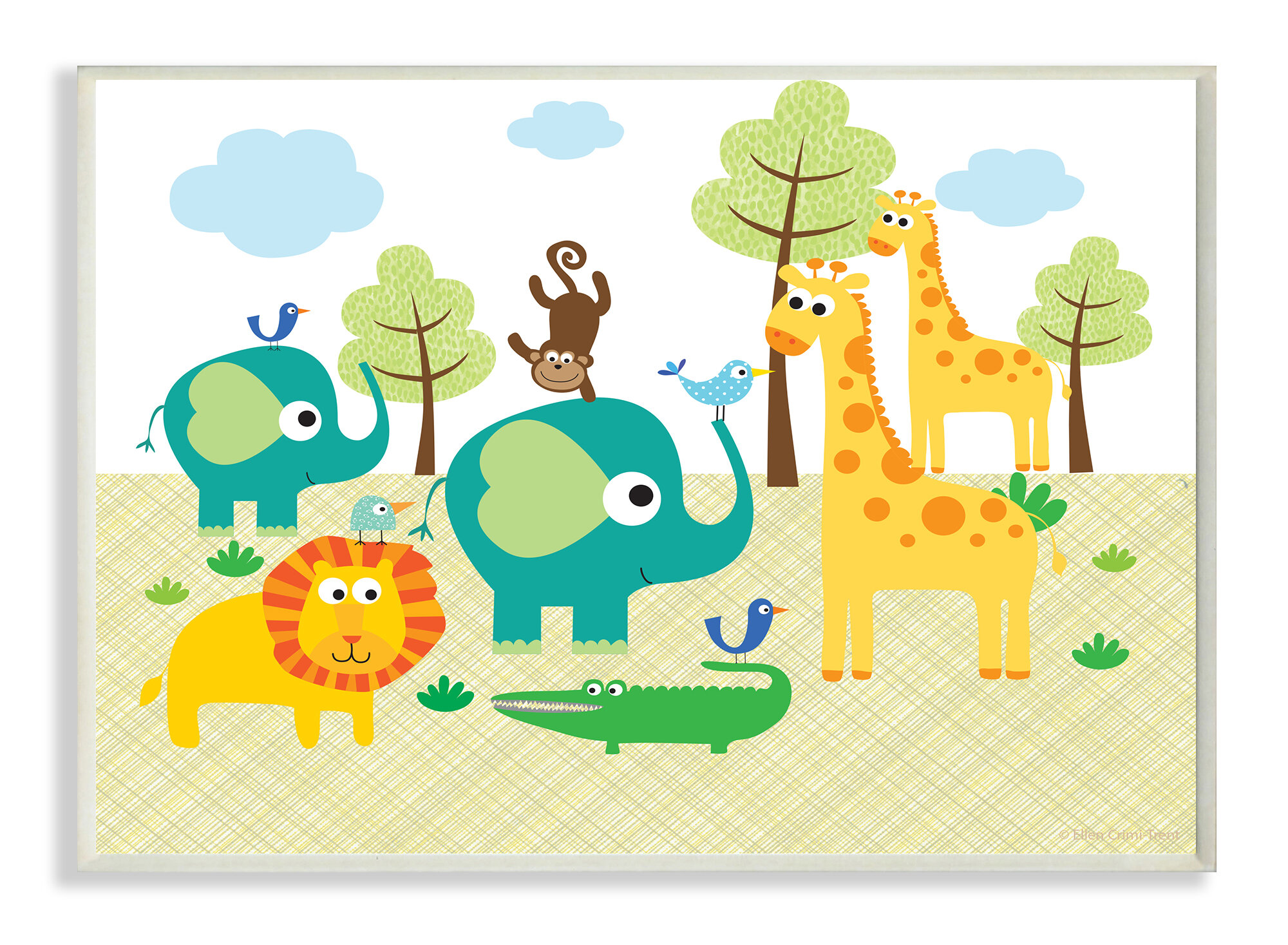 Stupell Industries The Kids Room Jungle Animals Graphic Art Wall ...