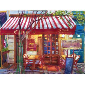'Le Petit Bistro Painting' by David Lloyd Glover Painting Print on Wrapped Canvas by Buy Art For Less