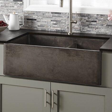 native trails 33 l x 21 w double basin farmhouse kitchen sink reviews wayfair - Double Farmhouse Sink