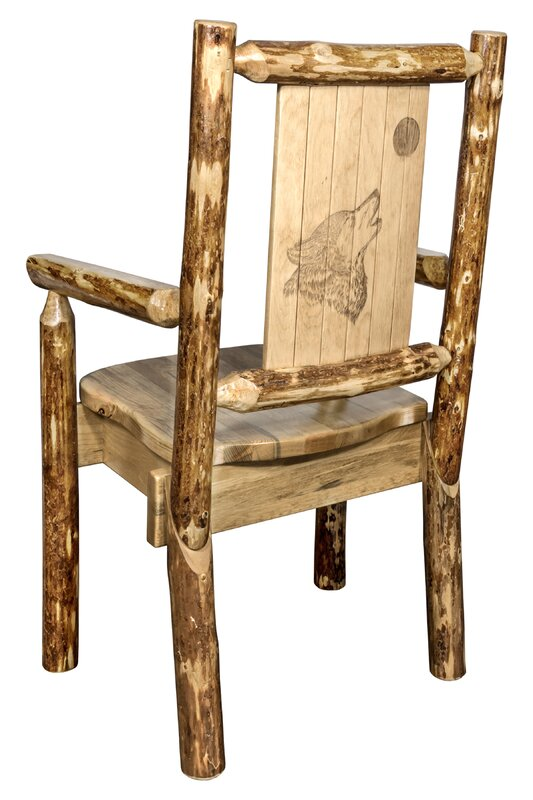 Rivas Captainu0027s Solid Wood Dining Chair With Laser Engraved Wolf Design