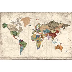 world map of maps canvas print
