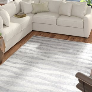 Find the perfect Pantheras Abstract Waves Gray/White Area Rug By Mercury Row