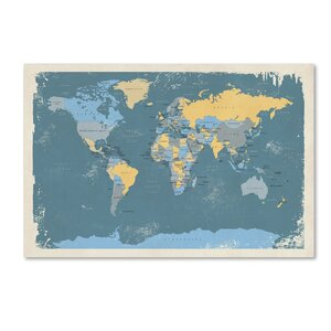 Retro Political Map of the World by Michael Tompsett Graphic Art on Wrapped Canvas by Trademark Fine Art