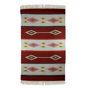 Coupon Hand-Loomed Red/White Area Rug By Novica