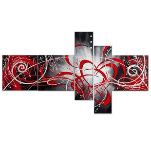 Modern Abstract Boomerang 5 Piece Painting on Canvas Set By Design Art
