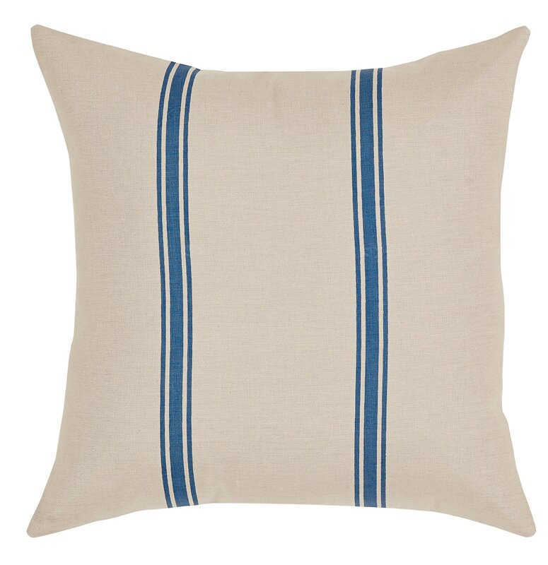 French Blue Stripe Throw Pillow