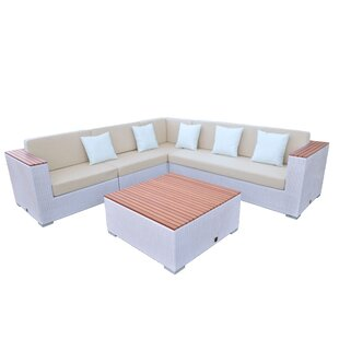 Majestic 5 Piece Rattan Sectional Set with Cushions By Solis Patio