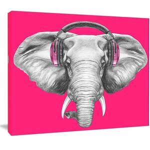 'Elephant with Headphones' Graphic Art on Wrapped Canvas by Design Art