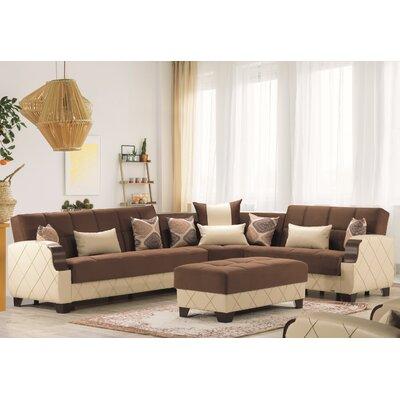 Byangelmolina 2 Piece Sleeper Living Room Set Byangel Fabric Dark Brown Cream Dailymail