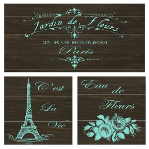 Mais Oui 3 Piece Graphic Art on Wood Set by PTM
