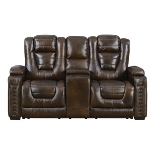 Barnhart Dual Power Leather Reclining Loveseat