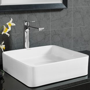 Great Price Concorde Ceramic Square Vessel Bathroom Sink By Swiss Madison