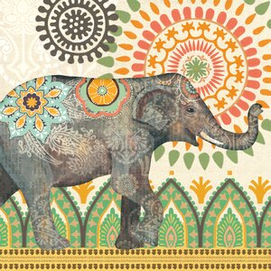 'Caravan Elephant 1' Graphic Art on Wrapped Canvas by World Menagerie