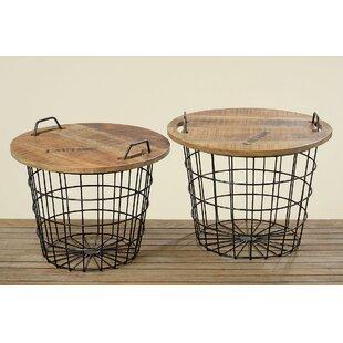 Best Reviews Monsen 2 Piece Convertible Basket End Table Set ByWilliston Forge
