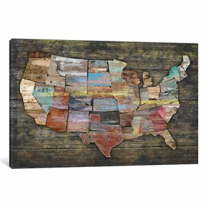 'USA Map I' Painting Print on Canvas by East Urban Home