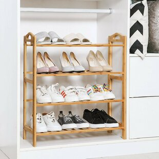 4 Tier Entryway Bamboo 16 Pair Shoe Rack Rebrilliant