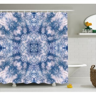 Piero Tie Dye Symbolic Oriental Life Of Flower Figure With Blurry Tones  Boho Style Print Shower Curtain