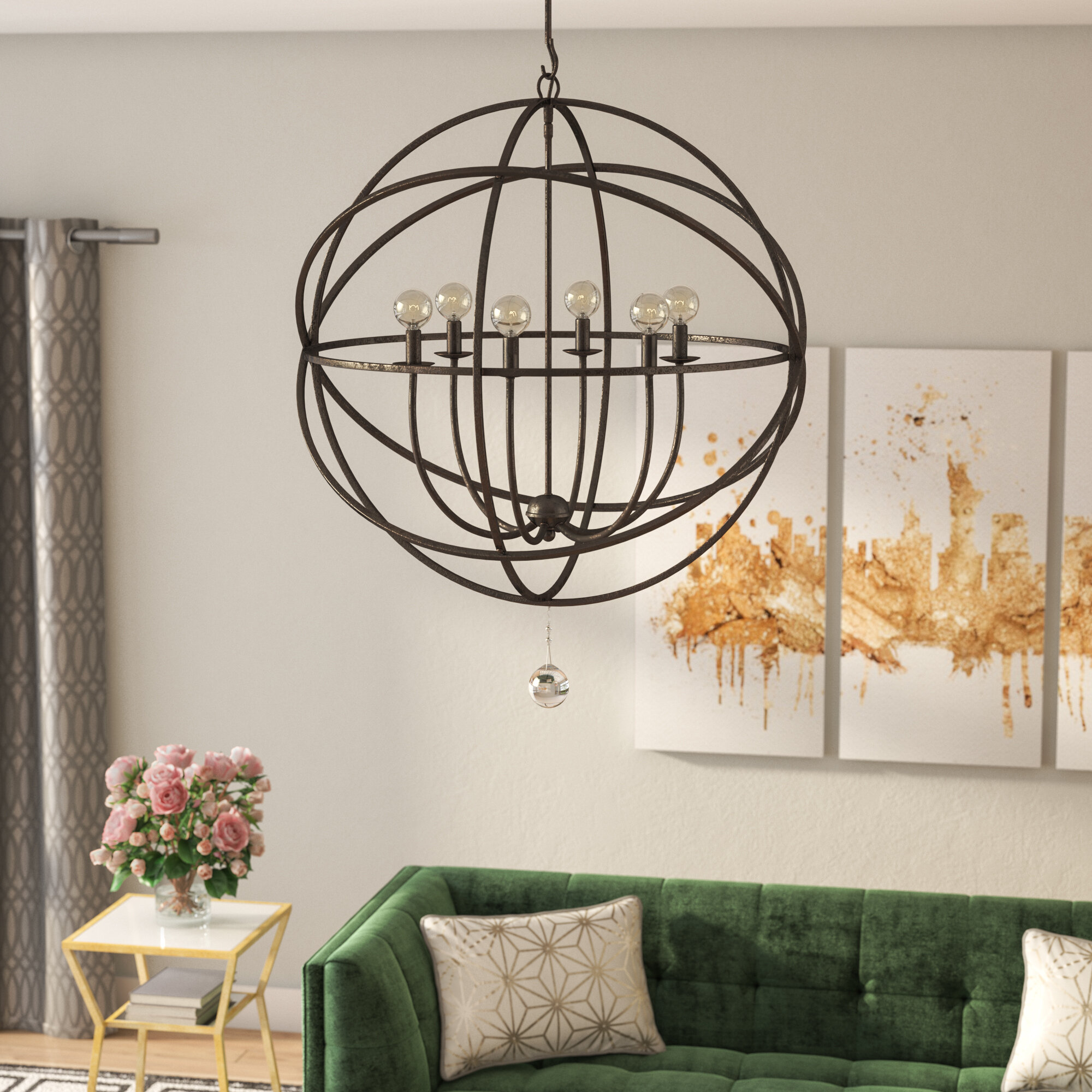 Willa Arlo Interiors Gregoire 6 Light Globe Chandelier Reviews Wayfair