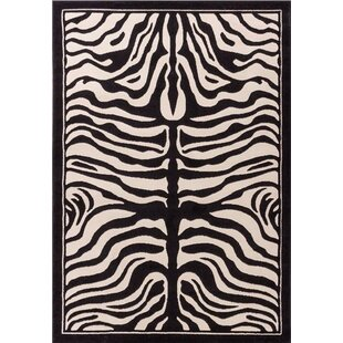 Check Prices Marlow Zebra Print Black/White Indoor/Outdoor Area Rug By Bloomsbury Market