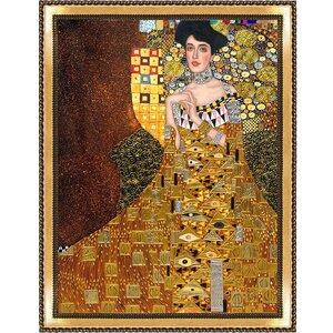 'Portrait of Adele Bloch-Bauer I, 1907 Metallic Embellished' by Gustav Klimt Framed Painting Print by La Pastiche