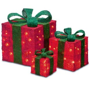 lighted gift box set of 3 - Lighted Gift Boxes Christmas Decorations
