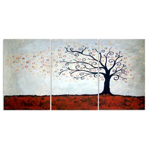 Tree in Autumn Triptych 3 Piece Graphic Art Wall Plaque Set by Stupell Industries