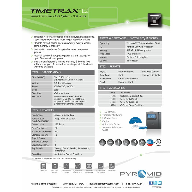 time trax ttez automated swipe card time clock system ethernet - Time Card Clock
