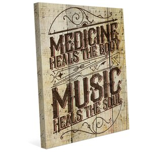 'Music Medicine' Textual Art on Wrapped Canvas by Click Wall Art