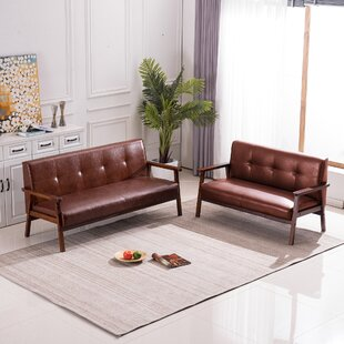 George Oliver 63.5 (L)*24 (D)*29.5(H) 3P 2P SOFA 3-Seater 2-Seater Home Living Room Wooden Arms(Brown) by George Oliver