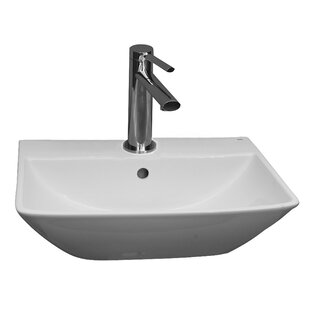 Summit 400 Vitreous China 16 Wall Mount Bathroom Sink with Overflow Barclay