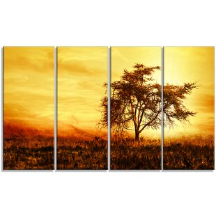 U0027African Tree Silhouetteu0027 4 Piece Wall Art On Wrapped Canvas Set