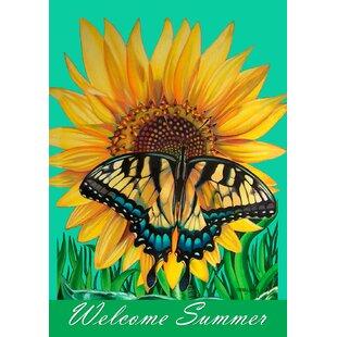 Genial Swallowtail Sunflower Garden Flag