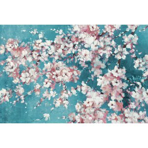 Into the Cherry Blossom Teal by Bridges Painting Print on Wrapped Canvas by Portfolio Canvas Decor