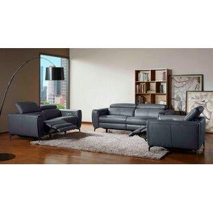Nakale 3 Piece Leather Reclining Living Room Set by Orren Ellis