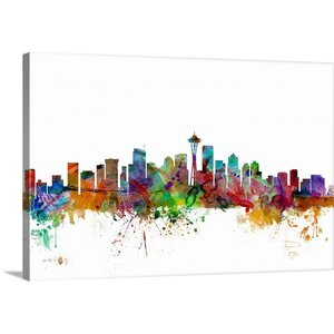 'Seattle Washington Skyline' by Michael Tompsett Graphic Art on Wrapped Canvas by Great Big Canvas