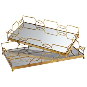 2 Piece Nephrite Accent Tray Set