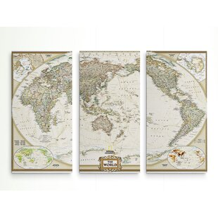 World map wall art national geographic world map graphic art print multi piece image on wrapped canvas gumiabroncs Image collections