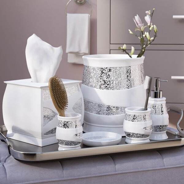 Willa Arlo Interiors Rivet 6 Piece White/Silver Bathroom Accessory Set U0026  Reviews | Wayfair